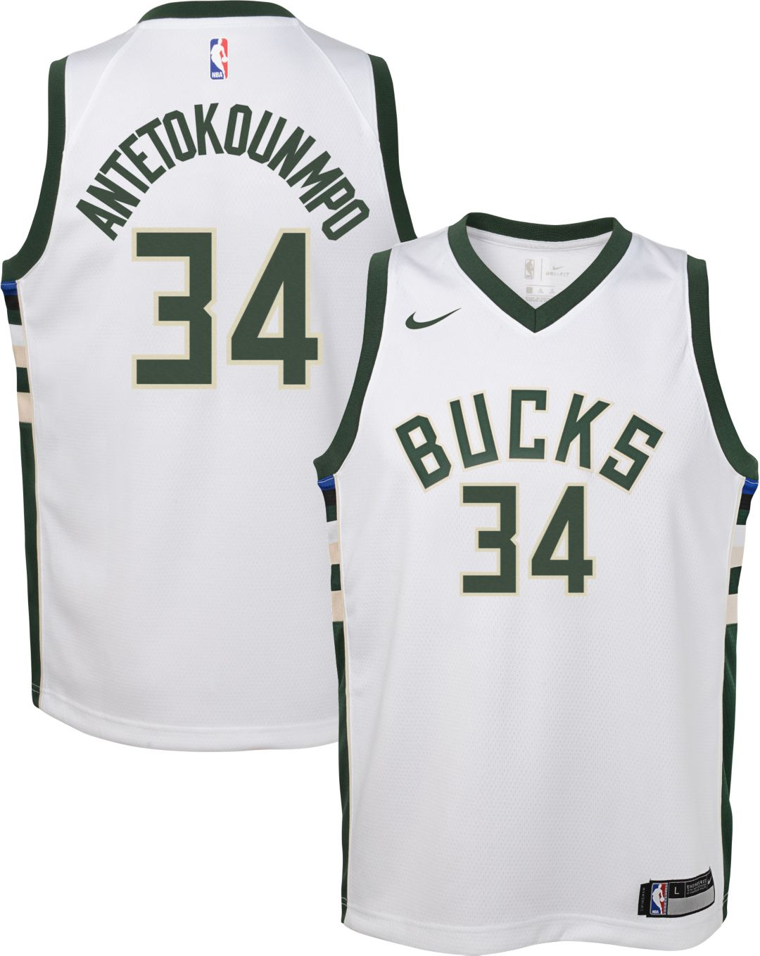 sale retailer d58bf 0ed4d Nike Youth Milwaukee Bucks Giannis Antetokounmpo #34 White Dri-FIT Swingman  Jersey