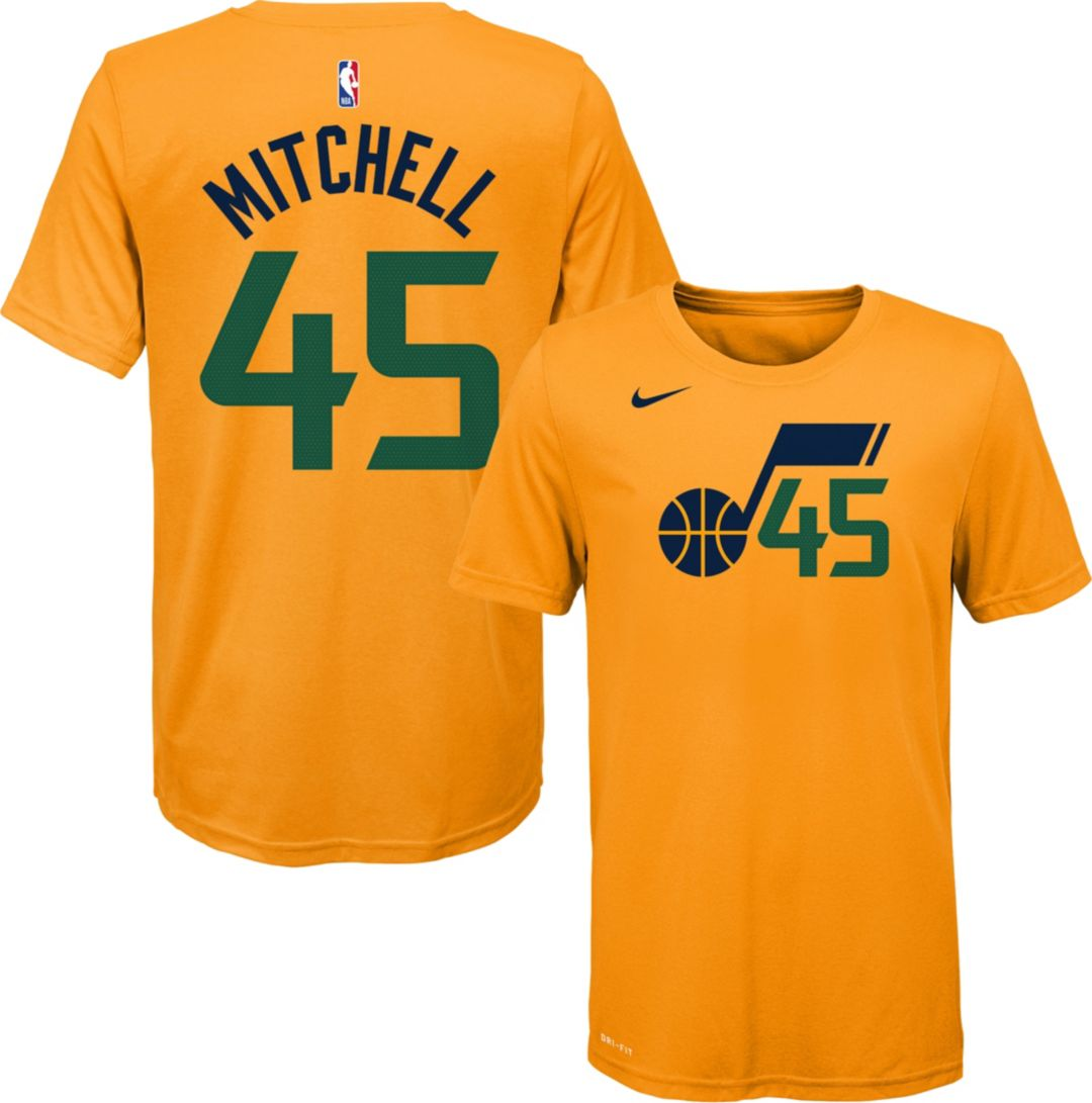 best loved 44bb0 1b279 Nike Youth Utah Jazz Donovan Mitchell #45 Dri-FIT Gold T-Shirt