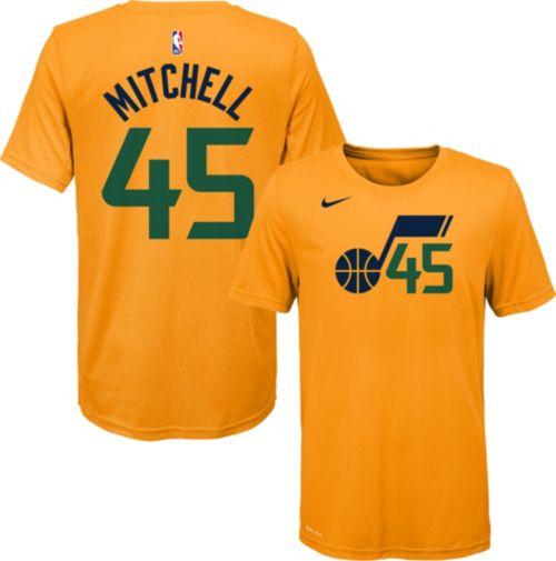 df6932e08 Nike Youth Utah Jazz Donovan Mitchell  45 Dri-FIT Gold T-Shirt ...