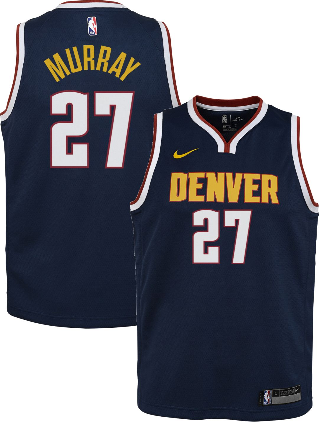 sale retailer f0aef 6d9d0 Nike Youth Denver Nuggets Jamal Murray #27 Navy Dri-FIT Swingman Jersey
