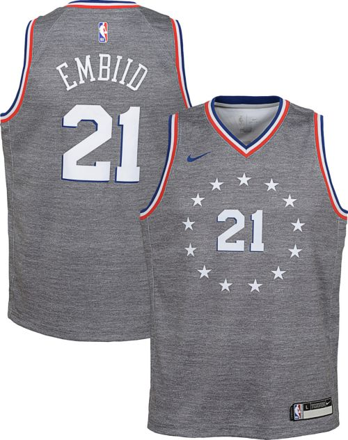 5ce06ac7b23 Nike Youth Philadelphia 76ers Joel Embiid Dri-FIT City Edition Swingman  Jersey. noImageFound. Previous