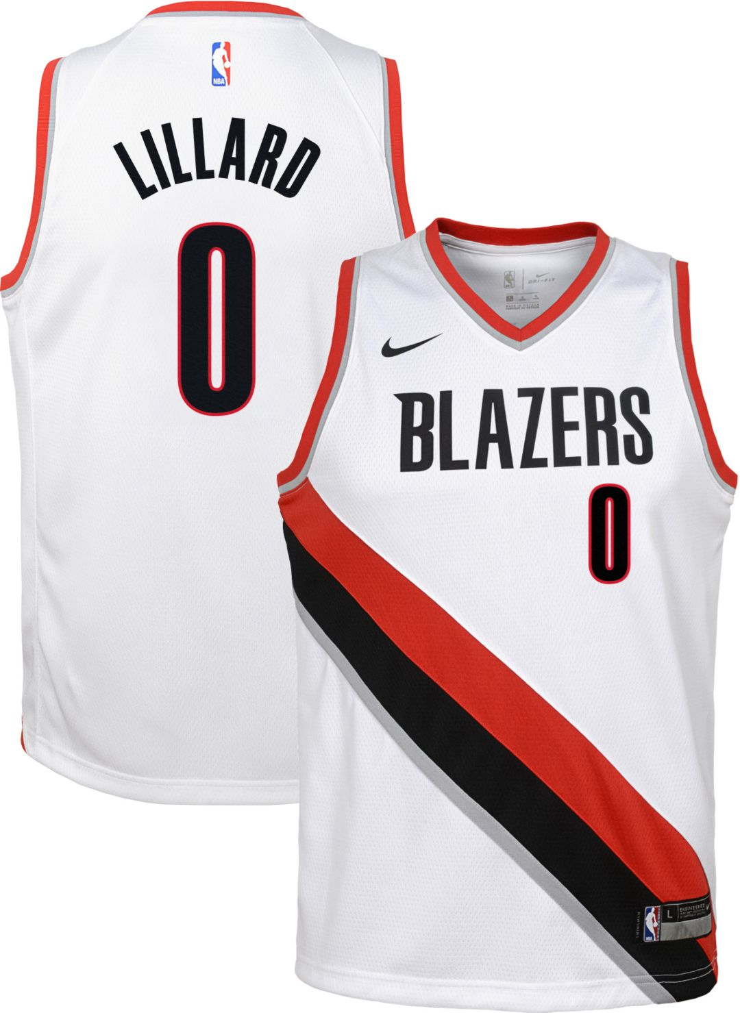 903bb141 Nike Youth Portland Trail Blazers Damian Lillard #0 White Dri-FIT ...