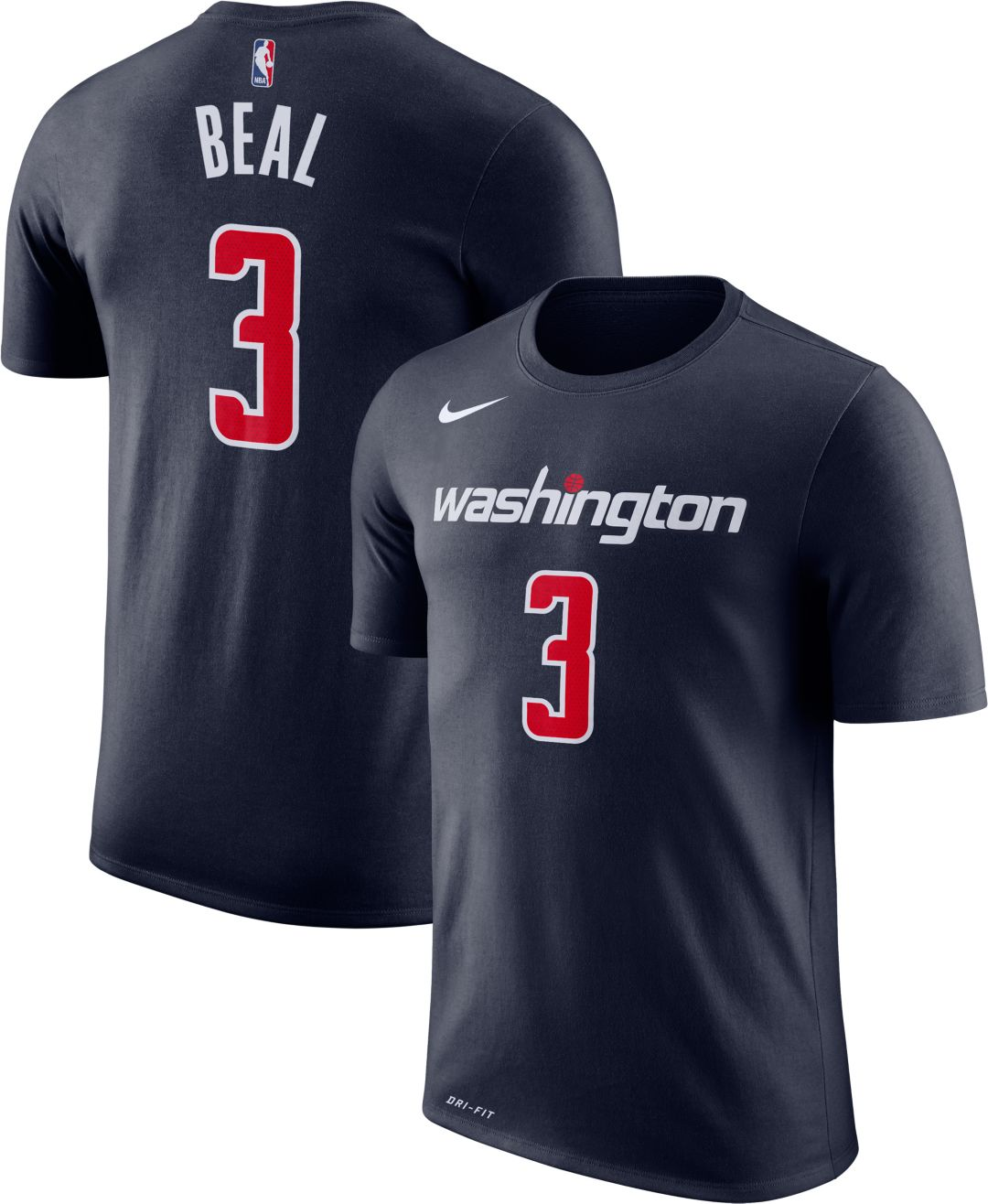 sale retailer 64eaa f982a Nike Youth Washington Wizards Bradley Beal #3 Dri-FIT Navy T-Shirt