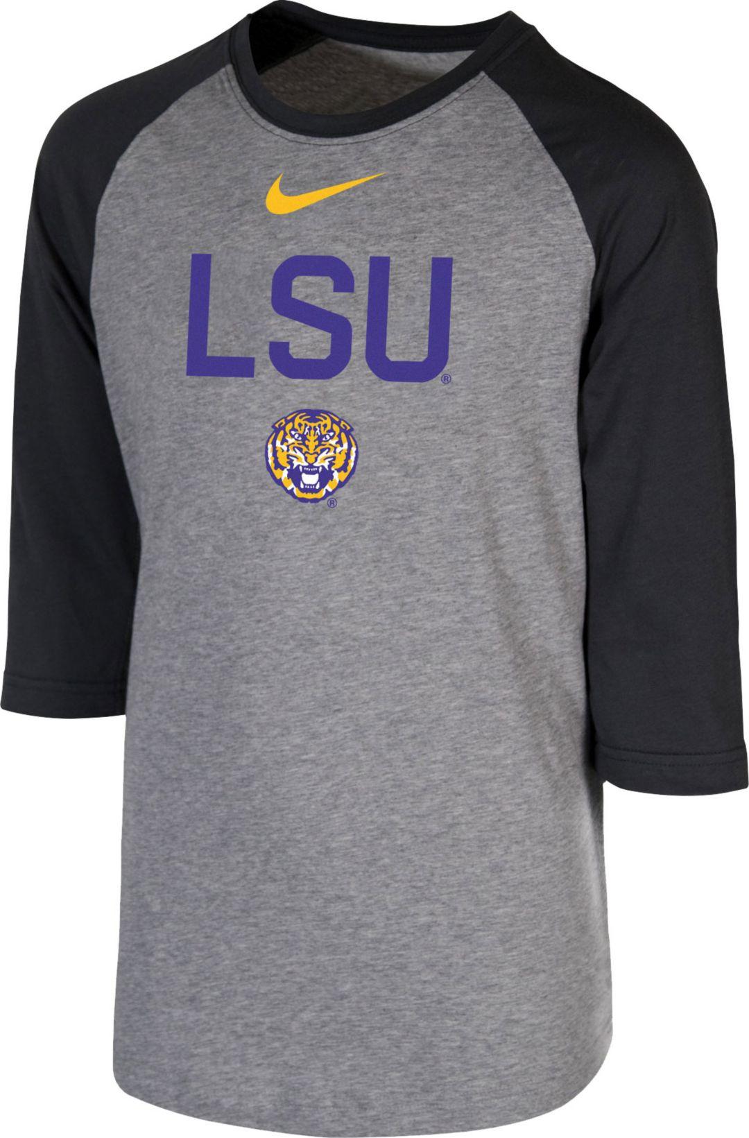 51dea80fcd39 Nike Youth LSU Tigers Grey 3/4 Sleeve Raglan T-Shirt. noImageFound. 1