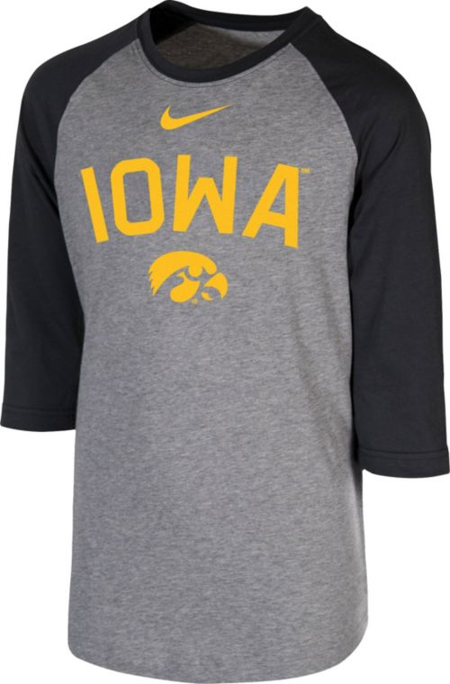 Nike Youth Iowa Hawkeyes Grey 3 4 Sleeve Raglan T-Shirt. noImageFound. 1 4550ba845