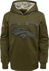 15953ba6 Nike Youth Salute to Service Denver Broncos Therma-FIT Olive Performance  Hoodie