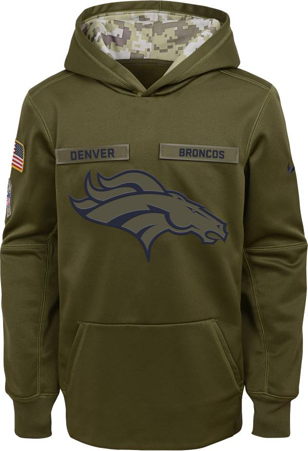 Nike Youth Salute to Service Denver Broncos Therma-FIT Olive Performance Hoodie product image