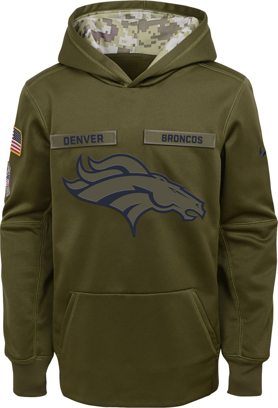 8aa4f3bd9 Nike Youth Salute to Service Denver Broncos Therma-FIT Olive ...