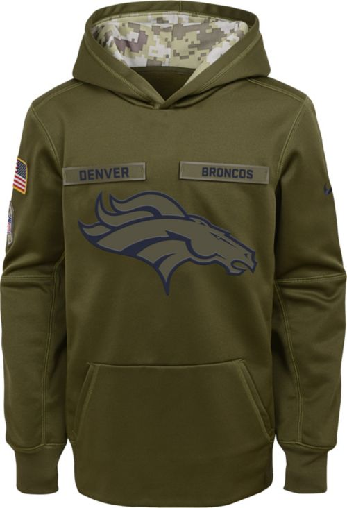 on sale 9141b 86bf1 Nike Youth Salute to Service Denver Broncos Therma-FIT Olive Performance  Hoodie