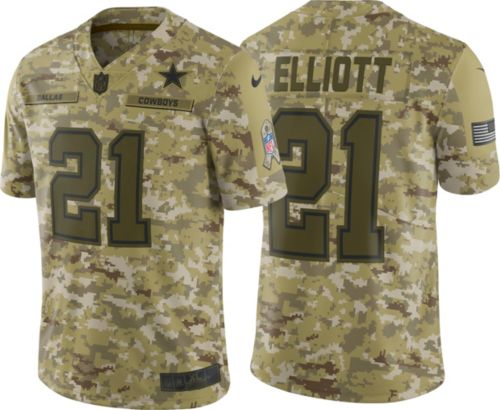 ef3644adb95 Nike Youth Salute to Service Dallas Cowboys Ezekiel Elliott #21 Camouflage  Home Game Jersey 1