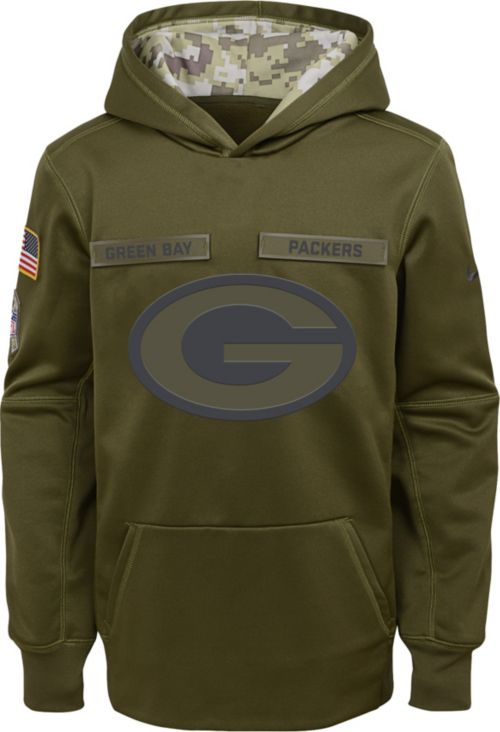 40c5a6b71ca Nike Youth Salute to Service Green Bay Packers Therma-FIT Olive Performance  Hoodie. noImageFound. Previous. 1
