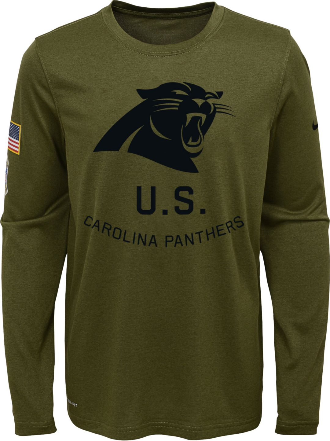 33f742a6b Nike Youth Salute to Service Carolina Panthers Legend Long Sleeve Olive  Shirt | DICK'S Sporting Goods