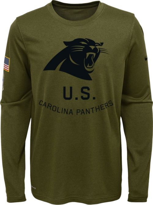 44068c0aa5ba Nike Youth Salute to Service Carolina Panthers Legend Long Sleeve Olive  Shirt