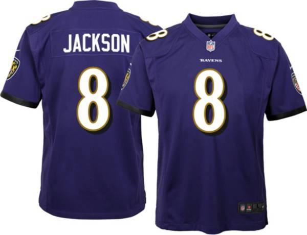 Nike Youth Baltimore Ravens Lamar Jackson #8 Purple Game Jersey