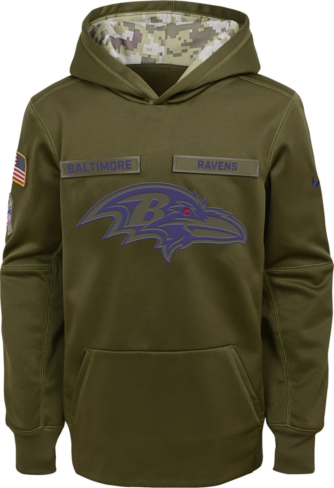 b86cf88c7 Nike Youth Salute to Service Baltimore Ravens Therma-FIT Olive ...