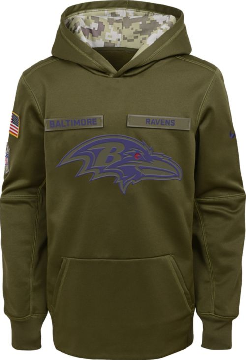 15c95f0bc86f Nike Youth Salute to Service Baltimore Ravens Therma-FIT Olive Performance  Hoodie. noImageFound. Previous