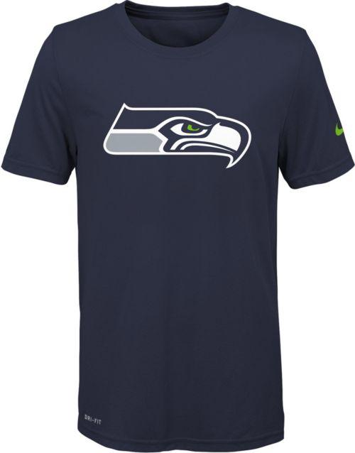 de8d01fa Nike Youth Seattle Seahawks Essential Logo Performance Navy T-Shirt.  noImageFound. 1