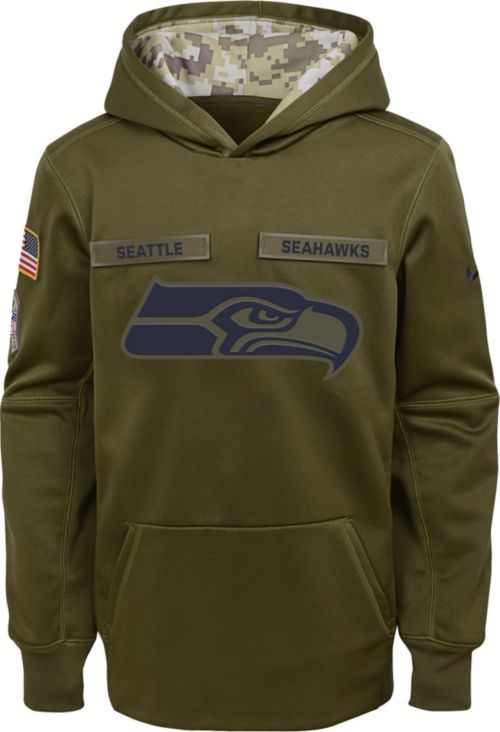 5a1c907de Nike Youth Salute to Service Seattle Seahawks Therma-FIT Olive Performance  Hoodie 1