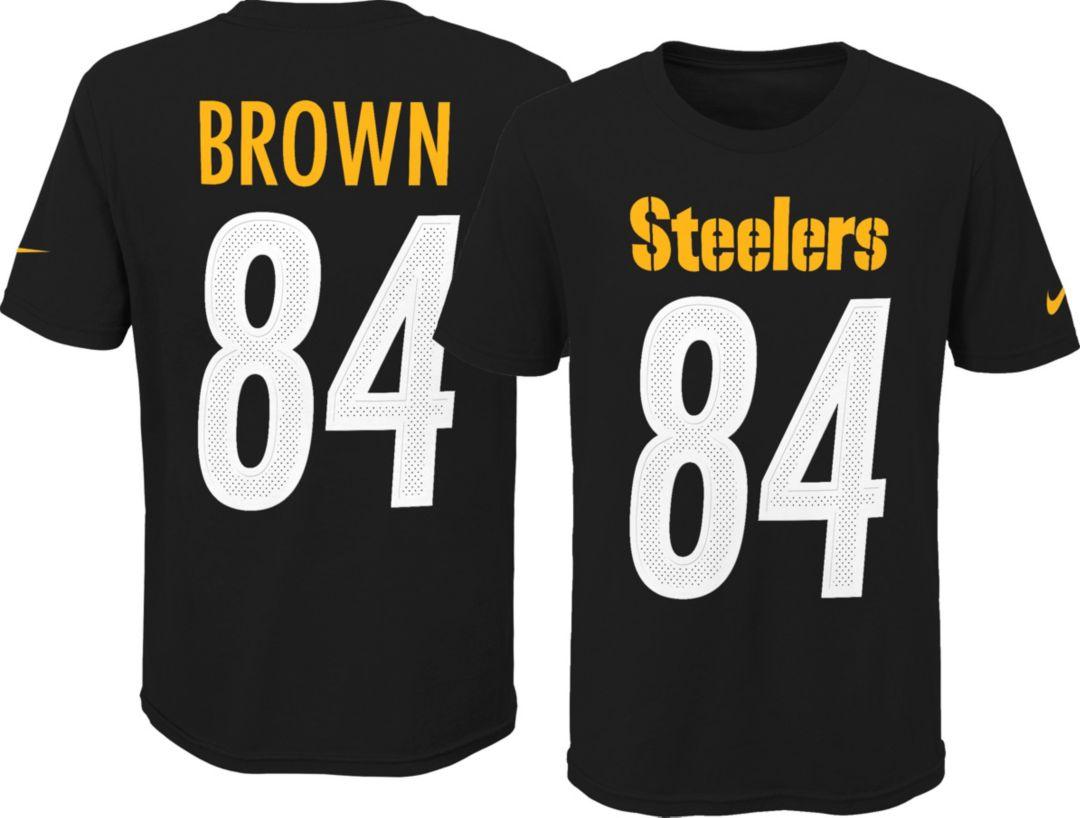 e186c439 Nike Youth Pittsburgh Steelers Antonio Brown #84 Pride Black T-Shirt ...