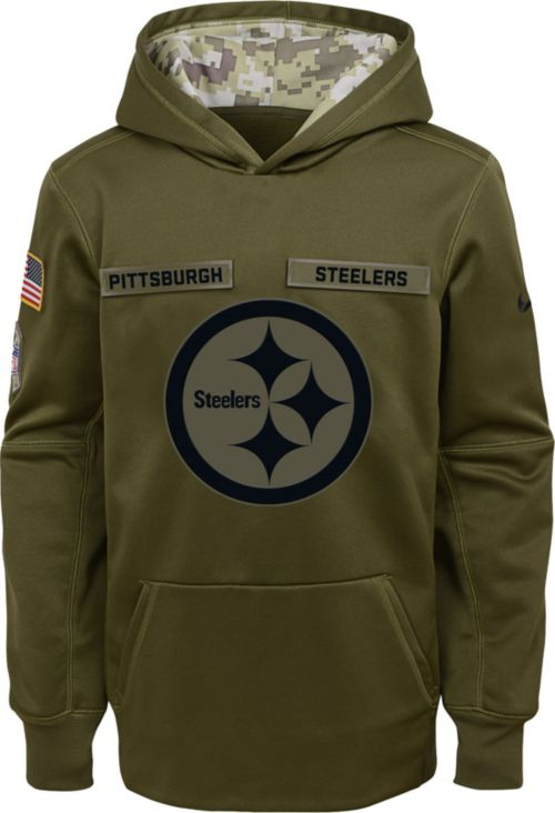 6a2b4a6832d Nike Youth Salute to Service Pittsburgh Steelers Therma-FIT Olive  Performance Hoodie