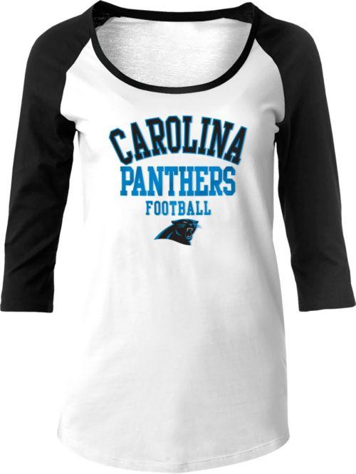 74ac08aa NFL Team Apparel Women's Carolina Panthers Football White Raglan Shirt.  noImageFound. 1