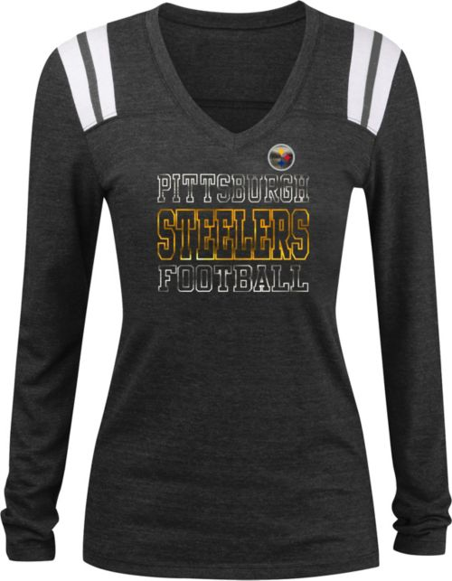 ... Women s Pittsburgh Steelers Tri-Blend Foil Black Long Sleeve Shirt.  noImageFound. 1 3dae8c32f8