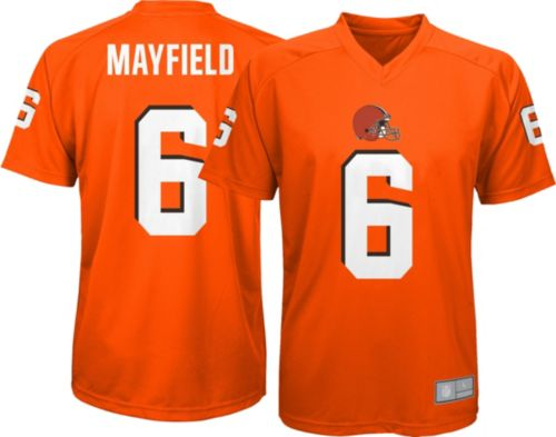 NFL Team Apparel Youth Cleveland Browns Baker Mayfield #6 Orange  free shipping