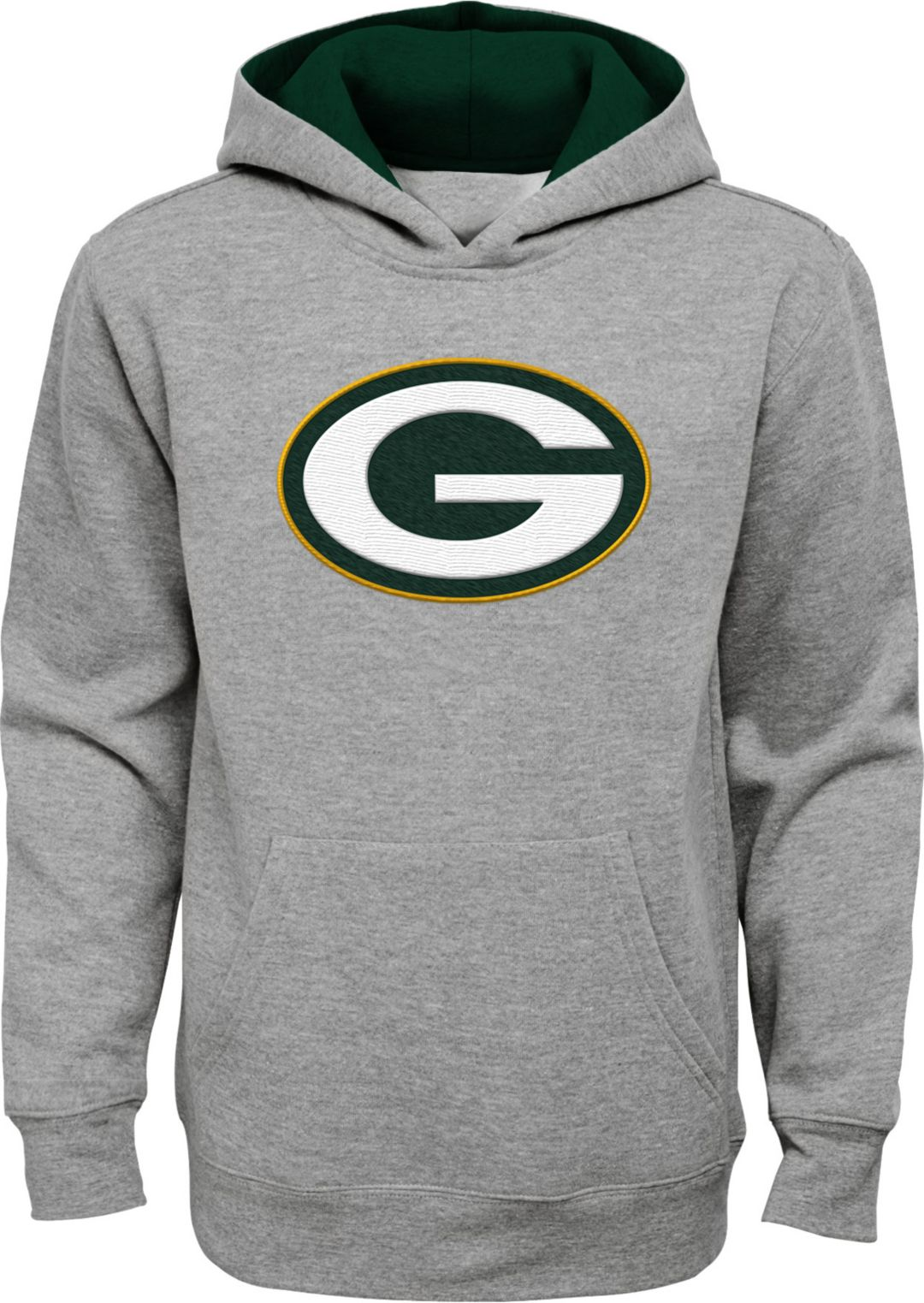 3a654c4b NFL Team Apparel Youth Green Bay Packers Prime Grey Pullover Hoodie