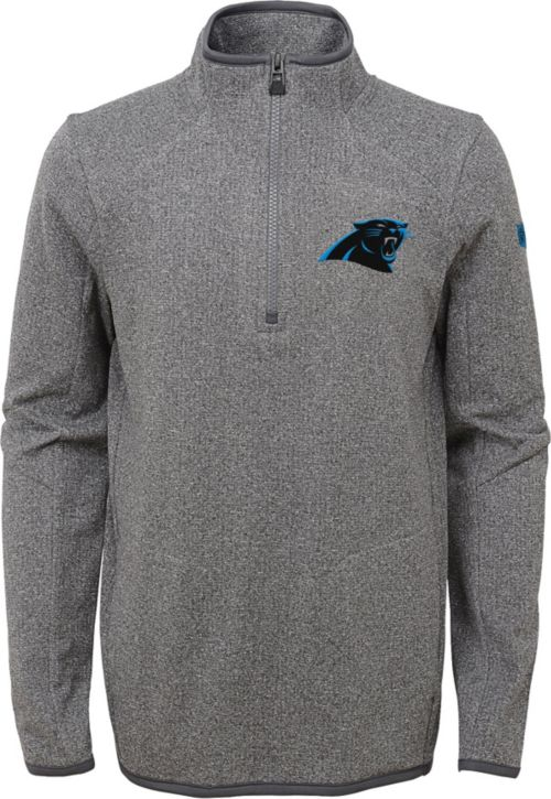 ... nfl team apparel youth carolina panthers motion grey quarter zip fleece  pullover 8ff2b1334