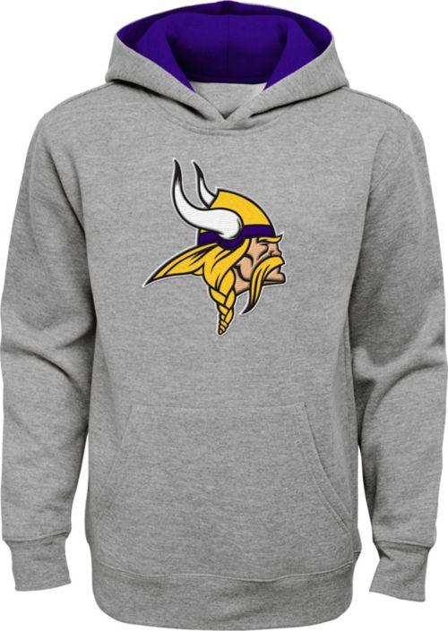 Wholesale NFL Team Apparel Youth Minnesota Vikings Prime Grey Pullover Hoodie