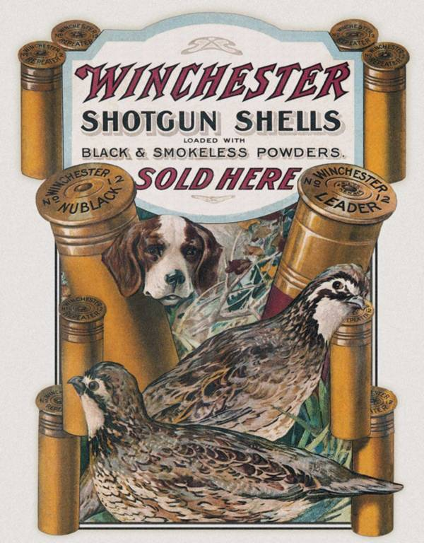 Winchester Dog and Quail Tin Sign product image