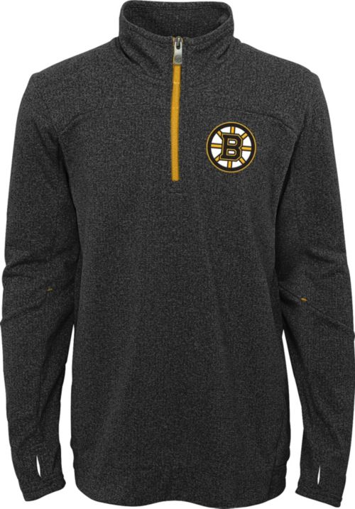 NHL Youth Boston Bruins Polymer Black Quarter-Zip Pullover  e9bf291ed