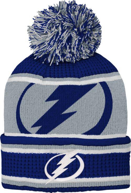 NHL Youth Tampa Bay Lightning Grinder Blue Pom Knit Beanie  8a014bd05ab