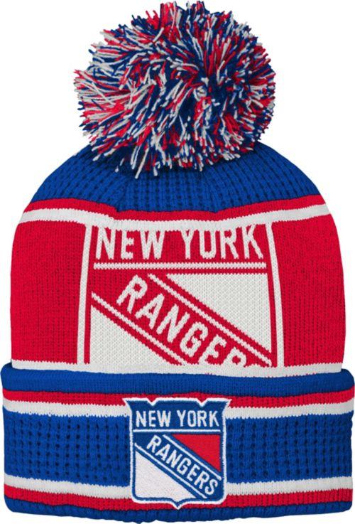 newest 86475 42967 NHL Youth New York Rangers Grinder Blue Pom Knit Beanie. noImageFound.  Previous