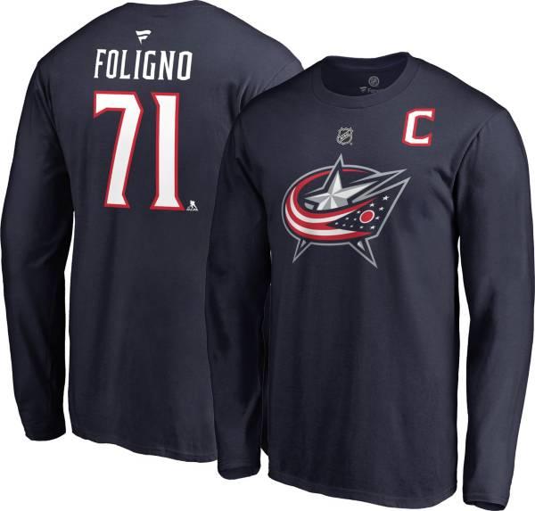 NHL Men's Columbus Blue Jackets Nick Foligno #71 Navy Long Sleeve Player Shirt product image