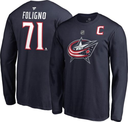 NHL Men s Columbus Blue Jackets Nick Foligno  71 Navy Long Sleeve ... c261f828bb7d