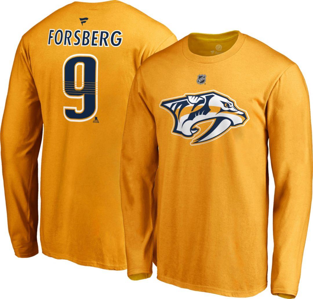 online retailer a2da4 791f9 NHL Men's Nashville Predators Filip Forsberg #9 Gold Long Sleeve Player  Shirt