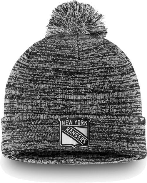 dd17cc315dd NHL Men s New York Rangers Black and White Pom Knit Beanie