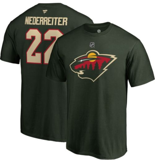 1d8872681 NHL Men's Minnesota Wild Nino Niederreiter #22 Green Player T-Shirt ...
