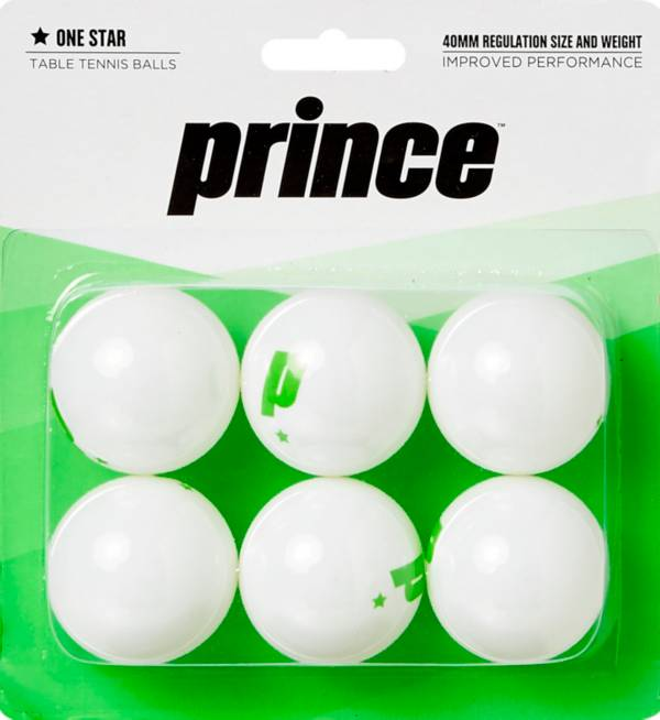 Prince One-Star White Table Tennis Balls 6 Pack product image