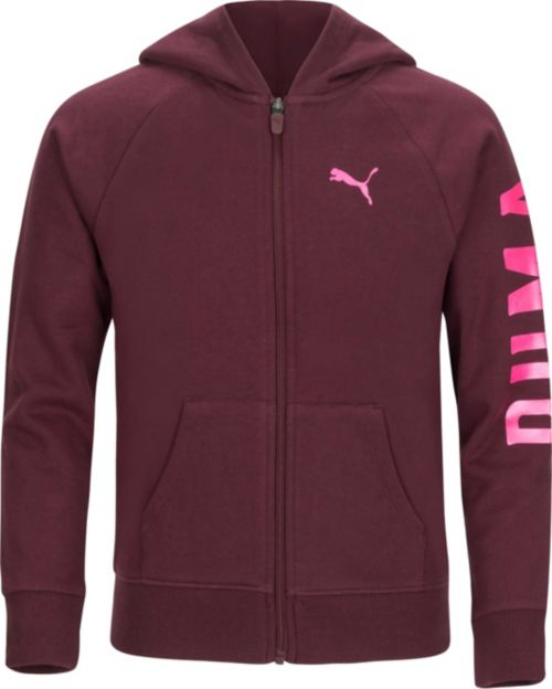 502b0b157945 PUMA Girls  Hooded Fleece Full-Zip Jacket