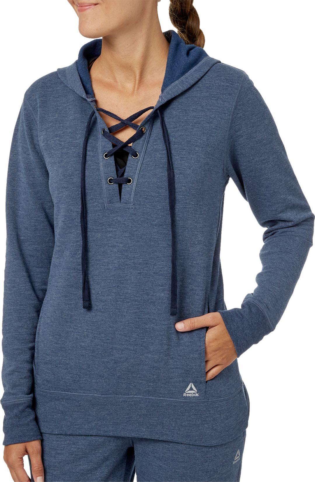 d4a97071 Reebok Women's Fleece Popover Lace Up Hoodie