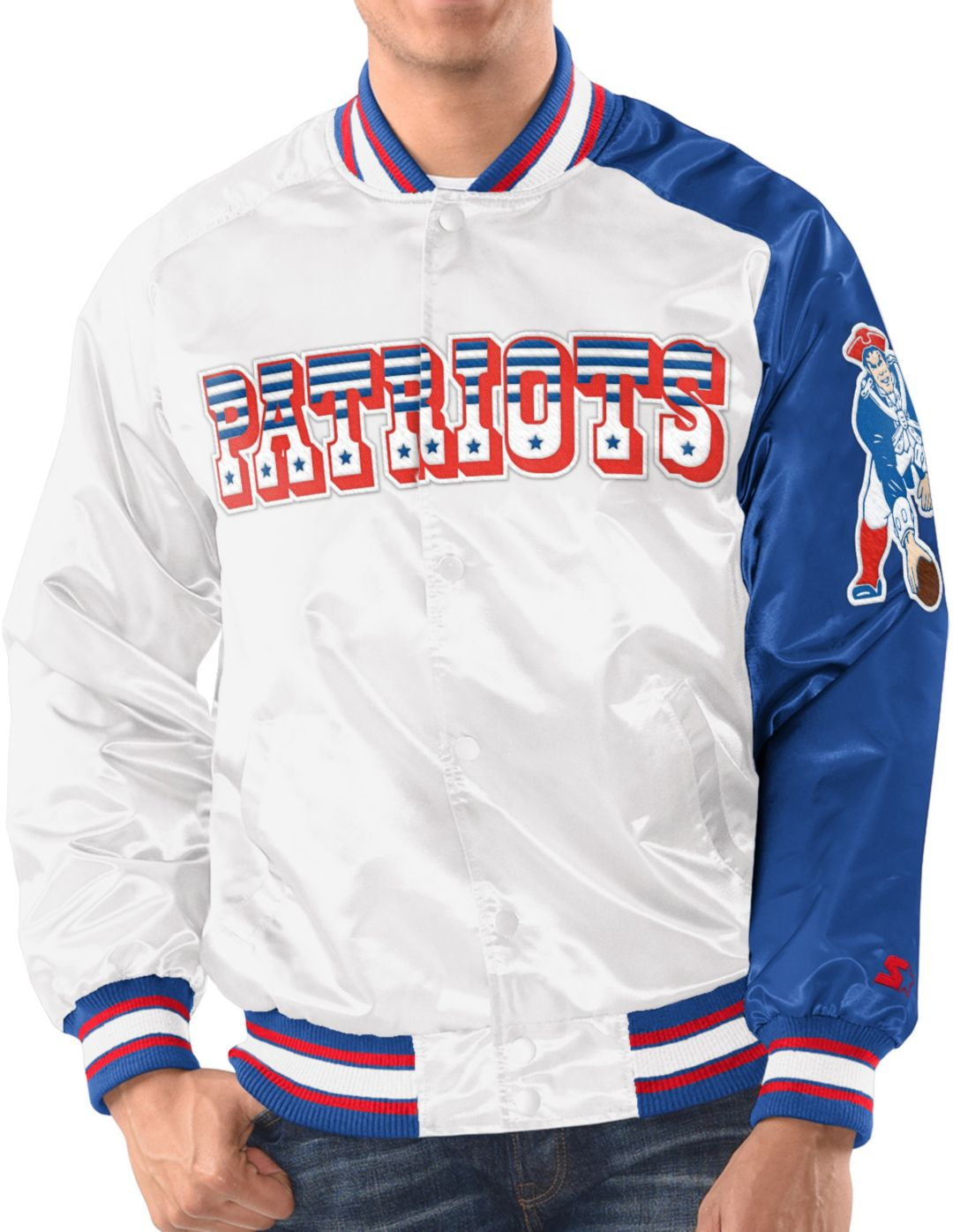 Discount Starter Men's New England Patriots White Throwback Satin Jacket  for sale