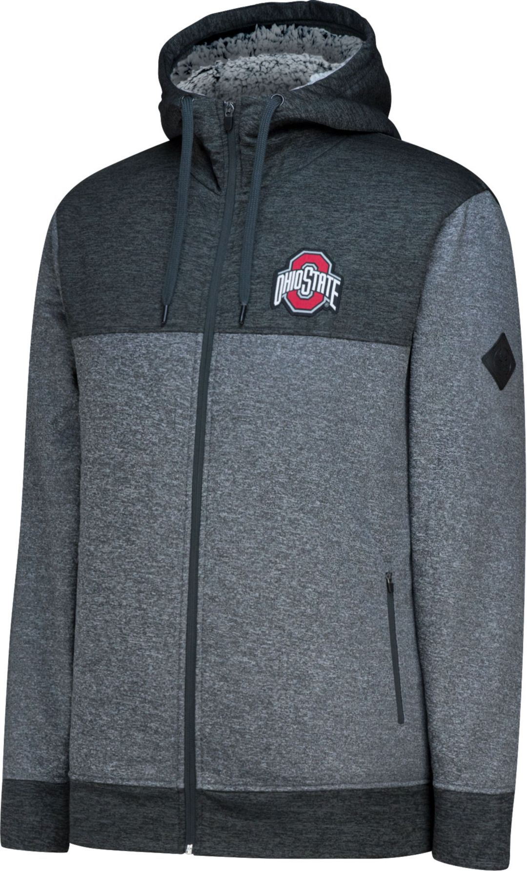 size 40 3587d 960a2 Scarlet and Gray Men s Ohio State Buckeyes Gray Sherpa Hood Full-Zip ...