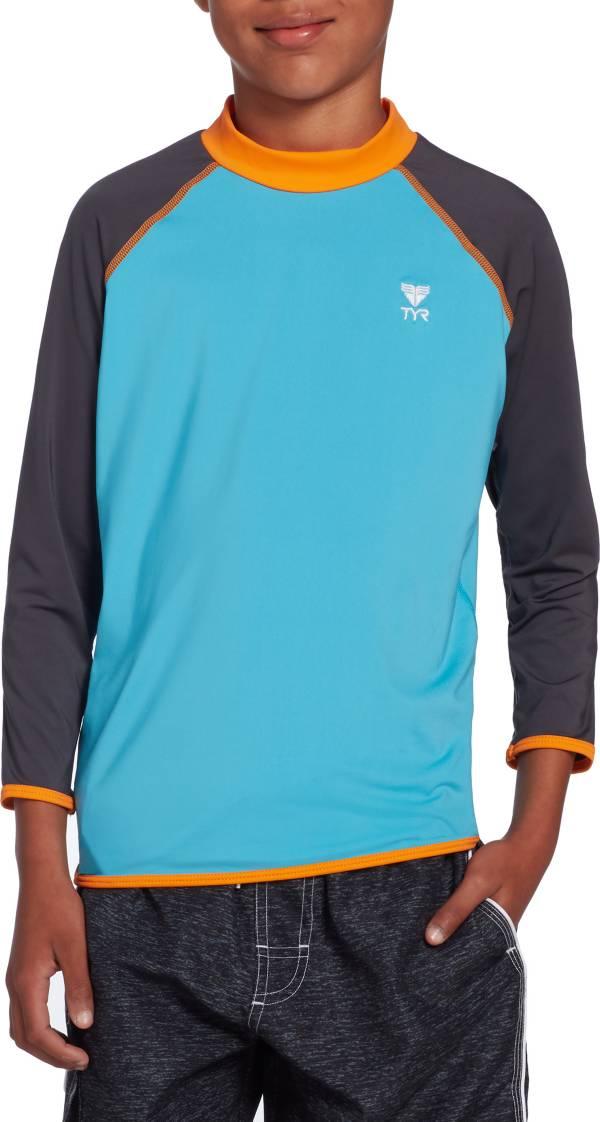 TYR Boys' Solid Splice Long Sleeve Rash Guard product image