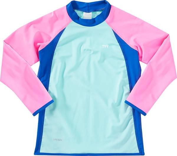 TYR Girls' Solid Splice Long Sleeve Rash Guard product image