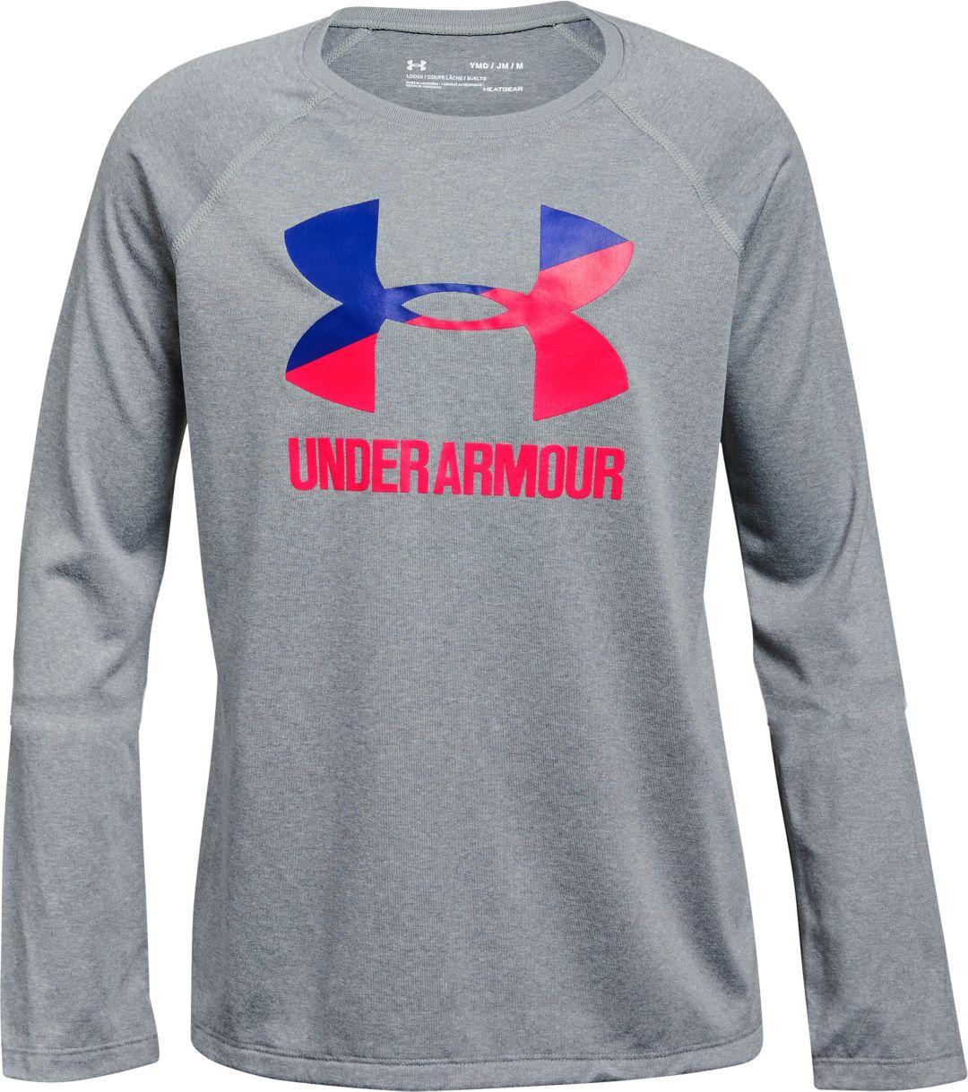 Under Armour Girl/'s Long Sleeve Shirt Grey M