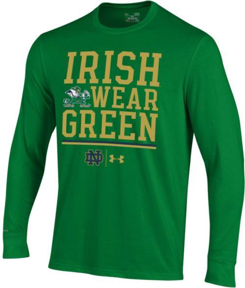 Under Armour Men S Notre Dame Fighting Irish Green Long Sleeve