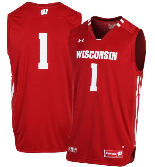 ed9ef2100a67 Under Armour Men s Wisconsin Badgers  1 Red Replica Basketball Jersey.  noImageFound. Previous