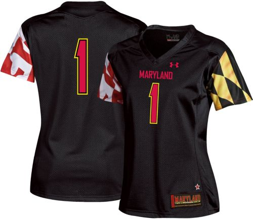 54ee9ab1 Under Armour Women's Maryland Terrapins #1 Replica Football Black Jersey